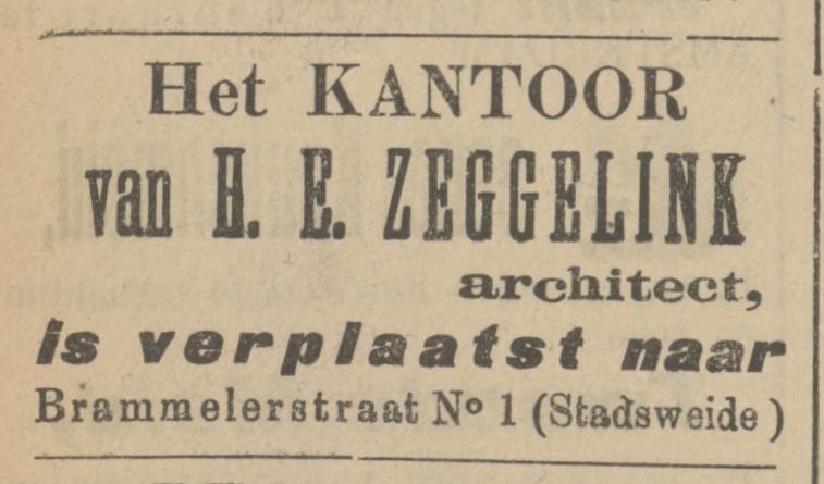 Brammelerstraat 1 H.E. Zeggelink architect advertentie Tubantia 3-11-1908.jpg