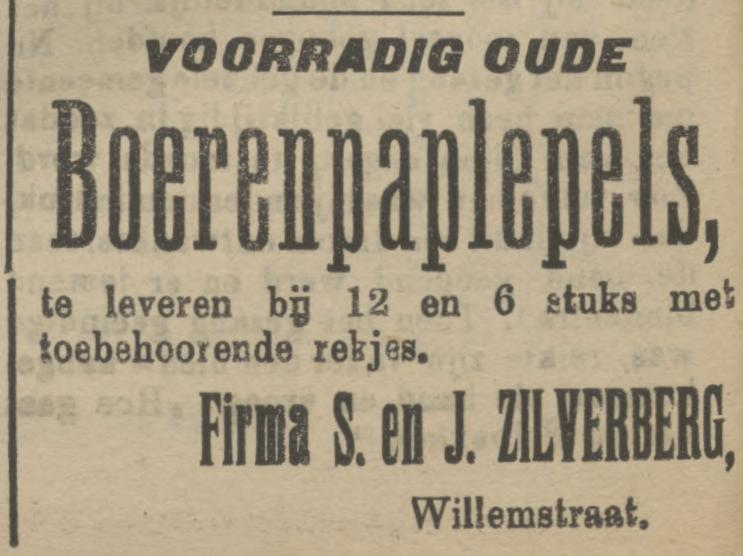 Willemstraat Firma S. em J. Zilverberg advertentie Tubantia5-11-1910.jpg