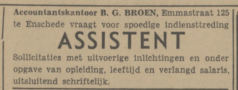 Emmastraat 125 Accountantskantoor B.G. Broen advertentie Tubantia 10-1-1948.jpg