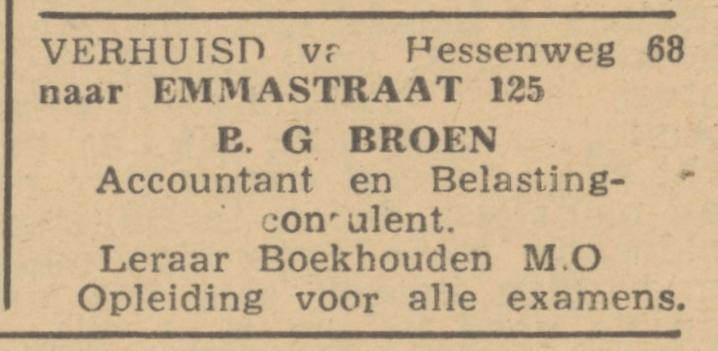 Emmastraat 125 Accountantskantoor B.G. Broen advertentie De Waarheid 10-7-1945.jpg