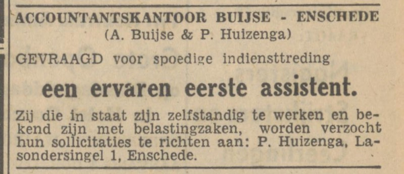Lasondersingel 1 Accountantskantoor Buyse advertentie Tubantia 27-10-1947.jpg