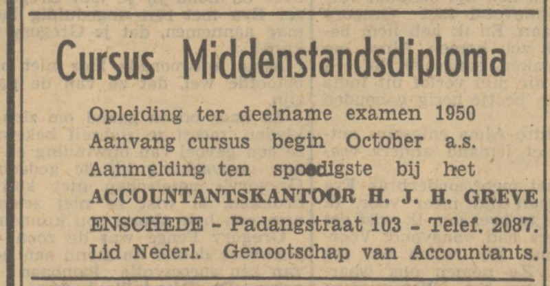Padangstraat 103 Accountantskantoor H.J.H. Greve advertentie Tubantia 14-9-1949.jpg