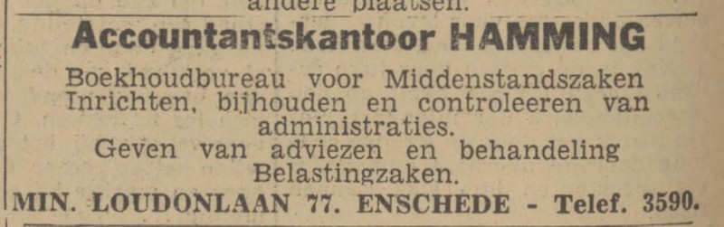 Minister Loudonlaan 77 Accountantskantoor Hamming advertentie 10-4-1943.jpg