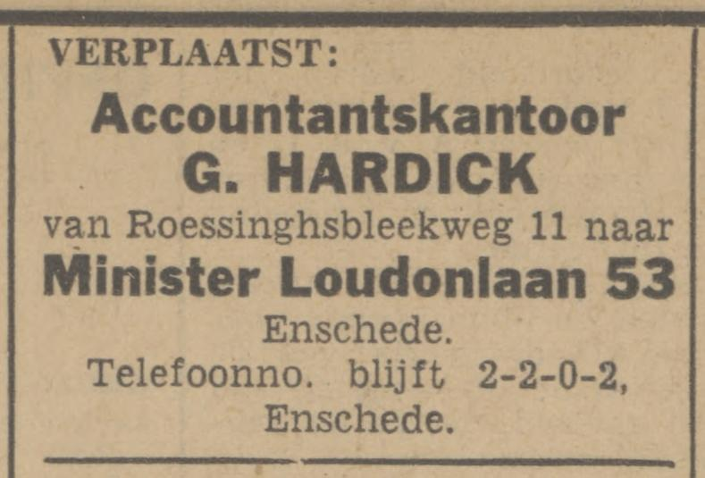 Minister Loudonlaan 53 Accountantskantoor G. Hardick advertentie Tubantia 23-6-1942.jpg