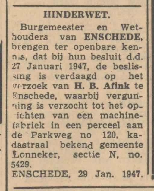 Parkweg 120 H.B. Afink Machinefabriek advertentie  Hinderwet Tubantia 30-1-1947.jpg