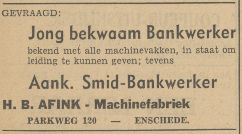 Parkweg 120 H.B. Afink Machinefabriek advertentie Tubantia 1-4-1949.jpg