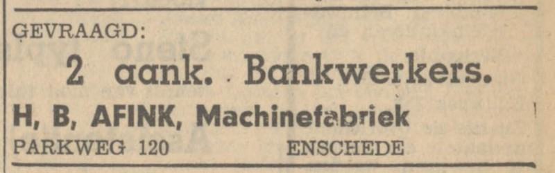 Parkweg 120 H.B. Afink Machinefabriek advertentie Tubantia 3-10-1947.jpg