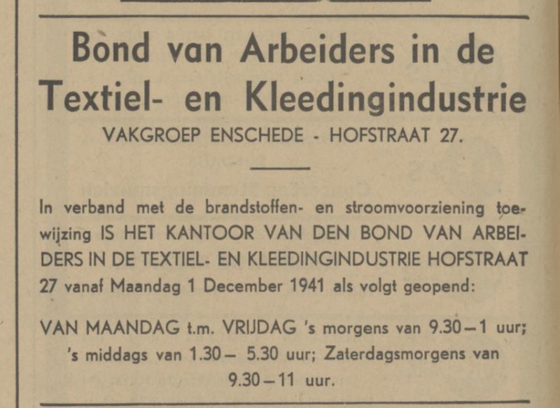 Hofstraat 27 Bond van Arbeiders- en Kleedingindustrie advertentie Tubantia 26-11-1941.jpg