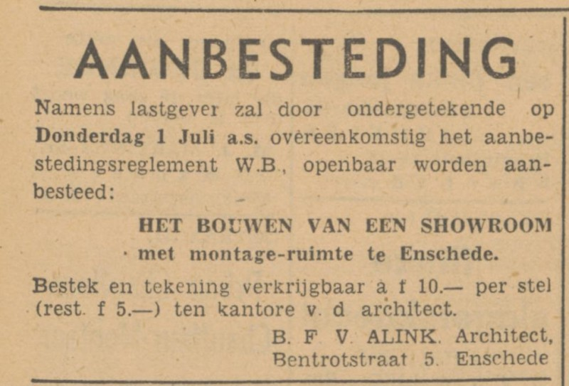 Bentrotstraat 5 B.F.V. Alink Architect advertentie Tubantia 23-6-1948.jpg