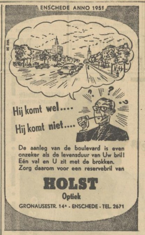 Gronausestraat 14a Holst Optiek advertentie Tubantia 12-7-1951.jpg
