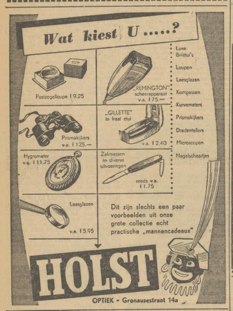 Gronausestraat 14a Holst Optiek advertentie Tubantia 30-11-1951.jpg