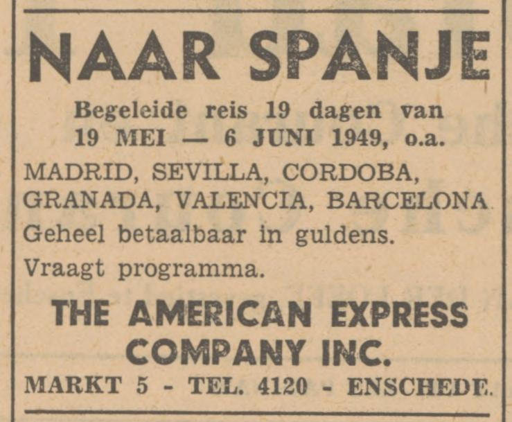 Markt 5 The American Express Company Inc. advertentie Tubantia 29-3-1949.jpg