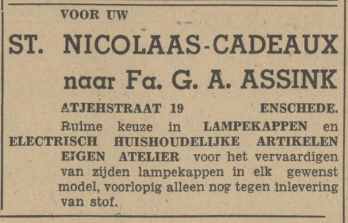 Atjehstraat 19 Fa. G.A. Assink advertentie Tubantia 26-11-1949.jpg