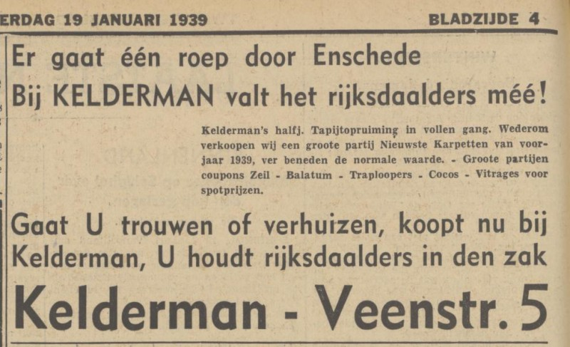 Veenstraat 5 Kelderman advertentie Tubantia 19-1-1939.jpg