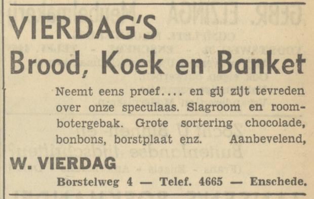 Borstelweg 4 W. Vierdag Brood Banket advertentie Tubantia 25-10-1949.jpg