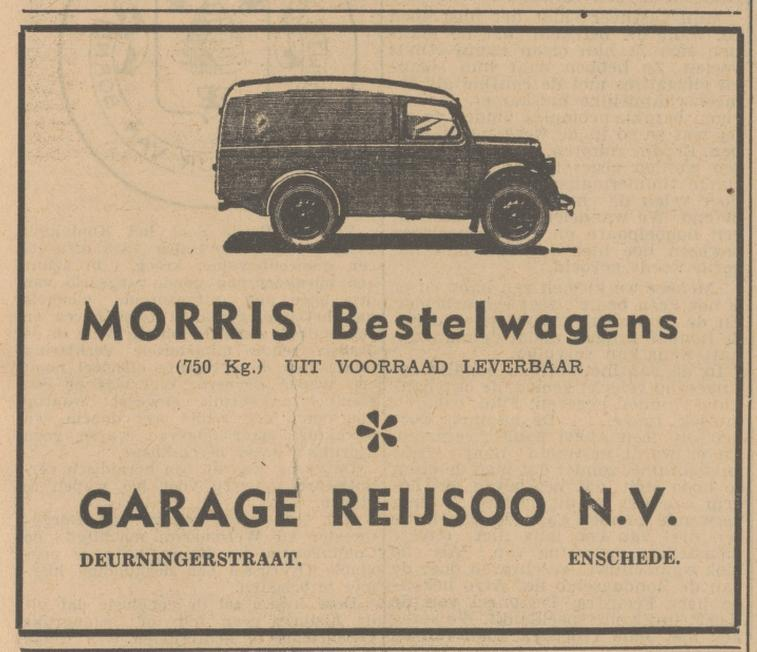 Deurningerstraat 101 Garage Reijsoo advertentie Tubantia 18-3-1949.jpg