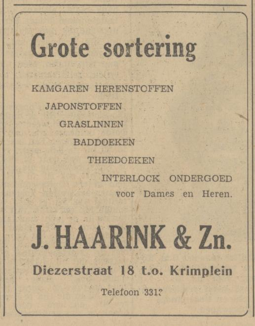 Diezerstraat 18 t.o. Krimplein J. Haarink & Zn advertentie Tubantia 24-2-1951.jpg