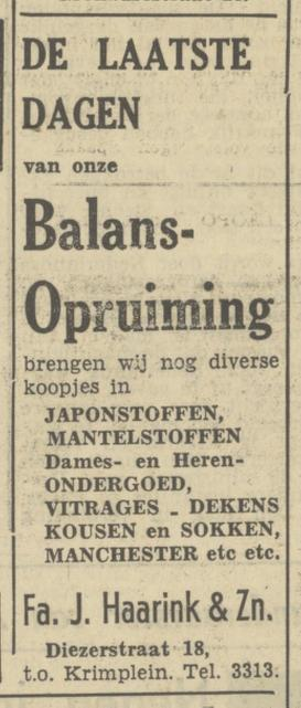 Diezerstraat 18 t.o. Krimplein J. Haarink & Zn advertentie Tubantia29-1-1950.jpg