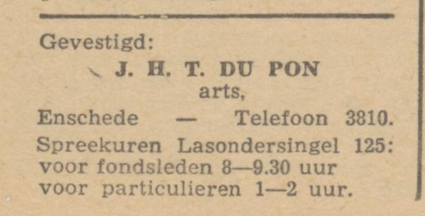 Lasondersingel 125 J.H.T. Du Pon arts advertentie 26-5-1945.jpg