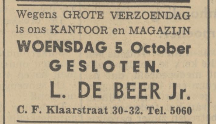 C.F. Klaarstraat 30-32. L. de Beer Jr. advertentie Tubantia 3-10-1938.jpg