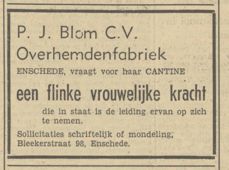 Bleekerstraat 98 P.J. Blom C.V. Overhemdenfabriek advertentie Tubantia 8-12-1950.jpg