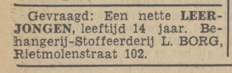 Rietmolenstraat 102 L. Borg Behangerij-stofferderij advertentie Tubantia 9-7-1938.jpg