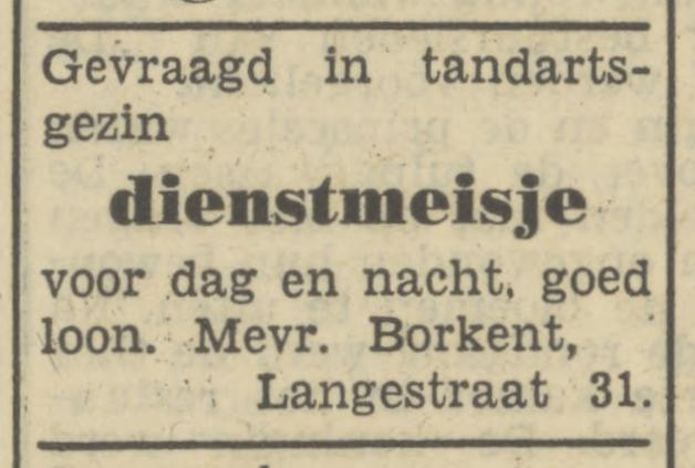 Langestreaat 31 Mevr. Borkent advertentie Tubantia 3-5-1950.jpg