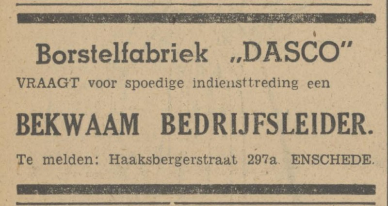 Haaksbergerstraat 297a Borstelfabriek Dasco advertetie Tubantia 13-12-1947.jpg