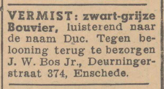 Deurningerstraat 374 J.W. Bos Jr. advertentie Twentsche courant 7-7-1945.jpg