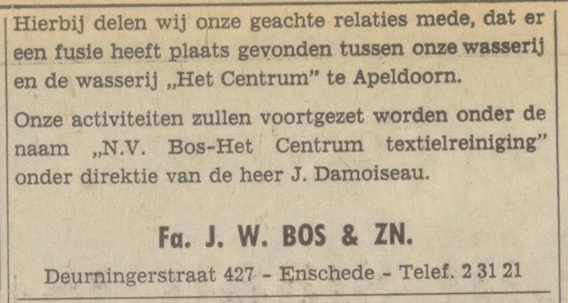 Deurningerstraat 427 Fa. J.W. Bos & Zn advertentie Tubantia 10-2-1971.jpg