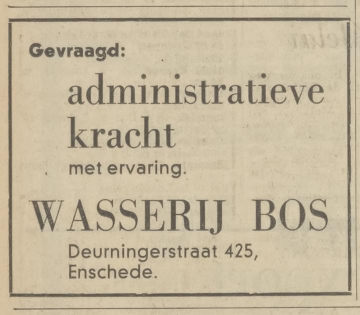 Deurningerstraat 425 Wasserie Bos advertentie Tubantia 17-12-1969.jpg