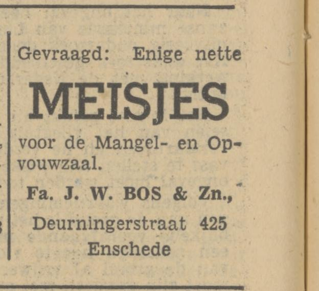 Deurningerstraat 425 Fa. J.W. Bos & Zn. advertentie Tubantia 22-3-1951.jpg