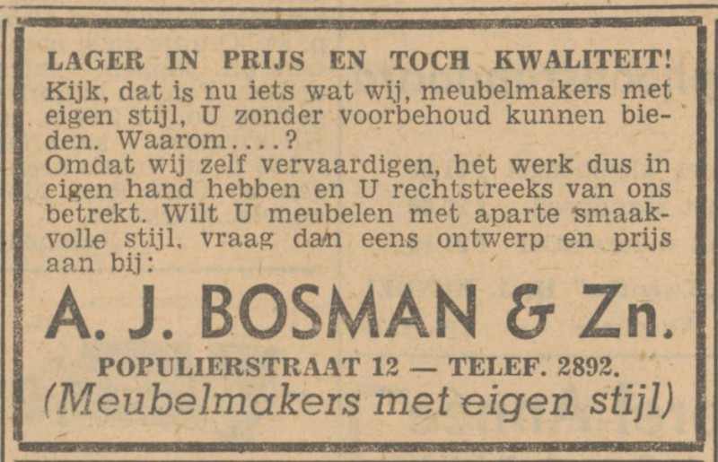 Populierstraat 12 A.J. Bosman advertentie Tubantia 8-1-1949.jpg