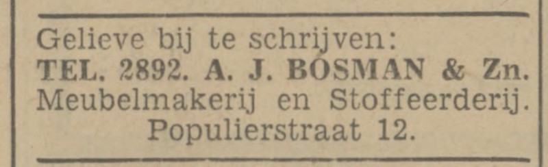 Populierstraat 12 A.J. Bosman advertentie Tubantia 15-3-1941.jpg