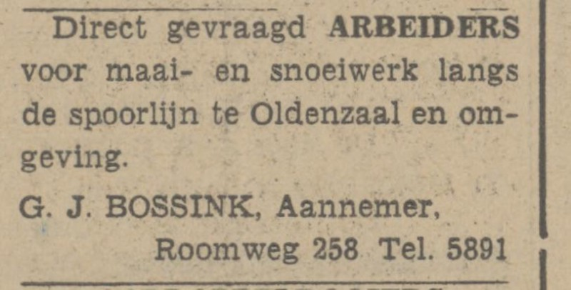 Roomweg 258 G.J. Bossink Aannemer advertentie Tubantia 19-9-1942.jpg