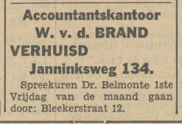 Bleekerstraat 12 Accountantskantoor W. v.d. Brand advertentie Tubantia 18-6-1934.jpg
