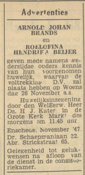 Abraham Strickstraat 65 A.J. Brands advertentie Tubantia 18-11-1947.jpg