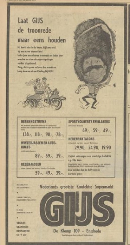 De Klomp 109 Gijs advertentie Tubantia 25-9-1970.jpg