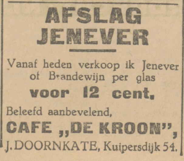 Kuipersdijk 54 cafe De Kroon J. Doornkate advertentie Tubantia 10-10-1931.jpg