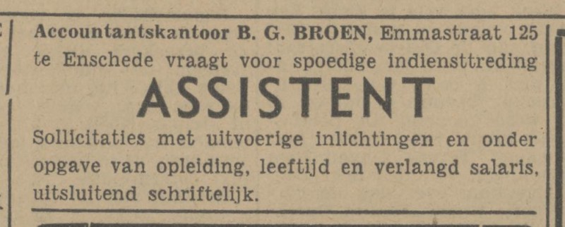 Emmastraat 125 B.G. Broen Accountantskantoor advertentie Tubantia 10-1-1948.jpg