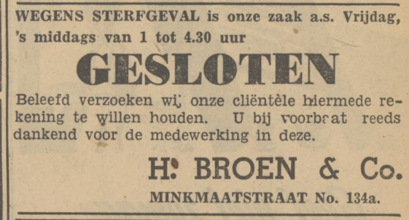 Minkmaatstraat 134a H. Broen & Co. advertentie Tubantia 6-10-1948.jpg
