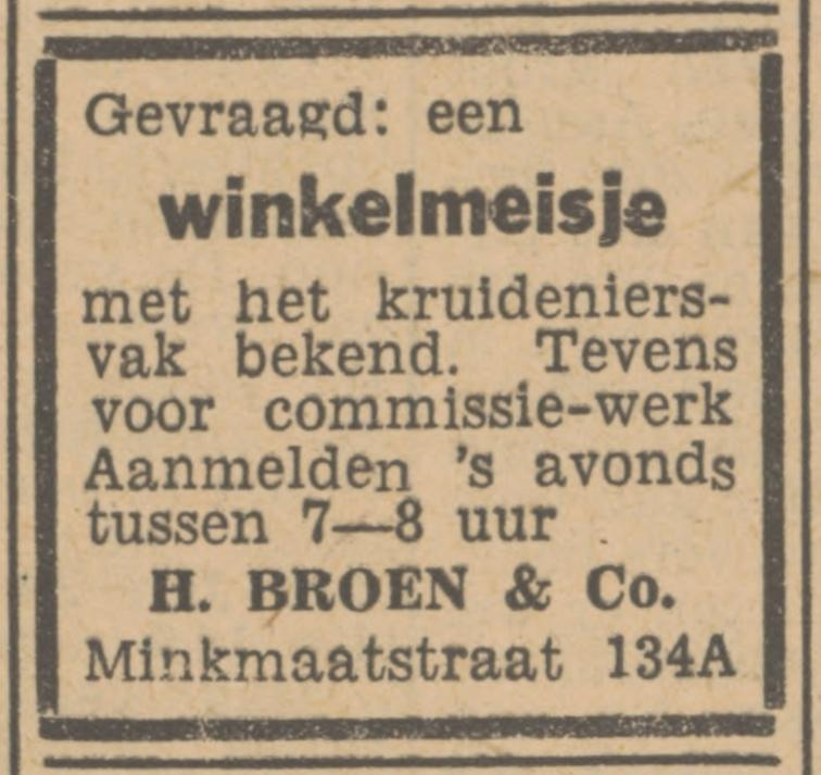 Minkmaatstraat 134a H. Broen & Co. advertentie Tubantia 12-7-1948.jpg