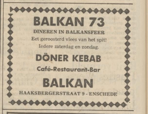 Haaksbergerstraat 9 Balkan restaurant advertentie Tubantia 6-9-1974.jpg