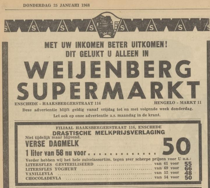 Haaksbergerstraat 116 Weijenberg Supermarkt advertentie Tubantia 25-1-1968.jpg