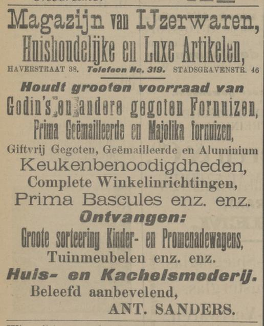 Haverstraat 38 Ant. Sanders IJzerwaren advertentie Tubantia 14-5-1910.jpg
