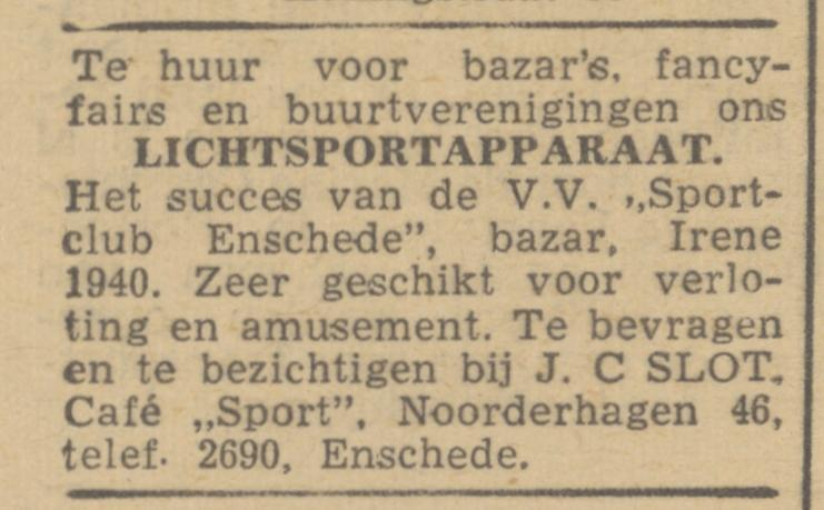Noorderhagen 46 cafe Sport J.C. Slot advertentie de Waarheid 14-8-1945.jpg