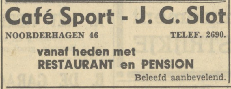 Noorderhagen 46 cafe Sport J.C. Slot advertentie Tubantia 12-11-1949.jpg