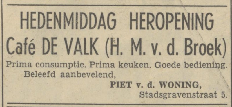 Stadsgravenstraat 5 cafe De Valk advertentie Tubantia 6-10-1951.jpg