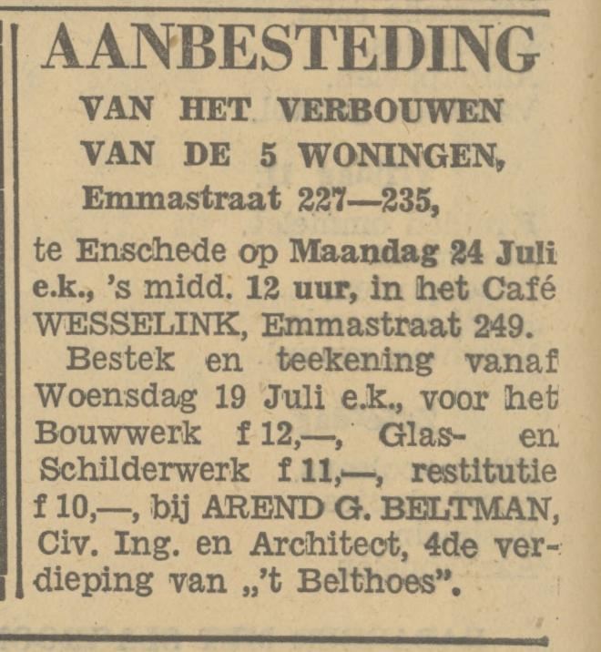 Emmastraat 249 cafe Wesselink advertentie Tubantia 14-7-1933.jpg