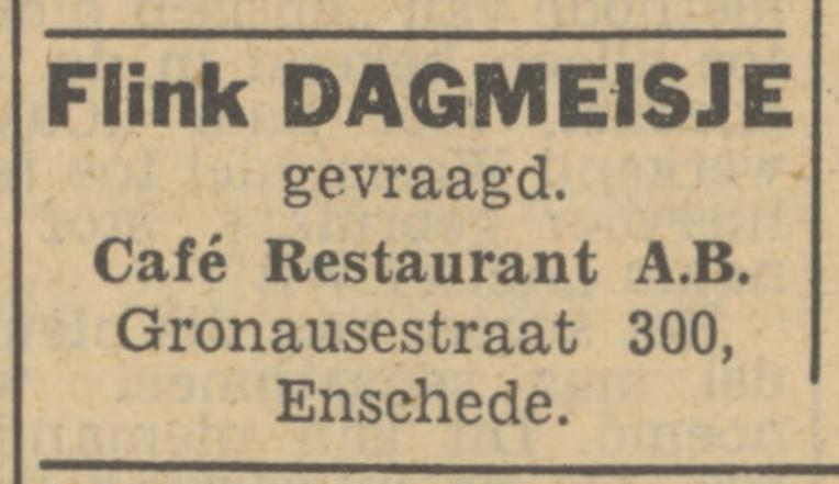 Gronausestraat 300 cafe restaurant A.B. advertentie Tubantia 26-7-1949.jpg